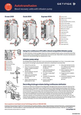 Autotransfusion - Autotransfusion Blood Recovery Units With Infusion Pump (Wall Chart)