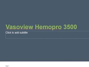 Vasoview Hemopro 3500 Presentation
